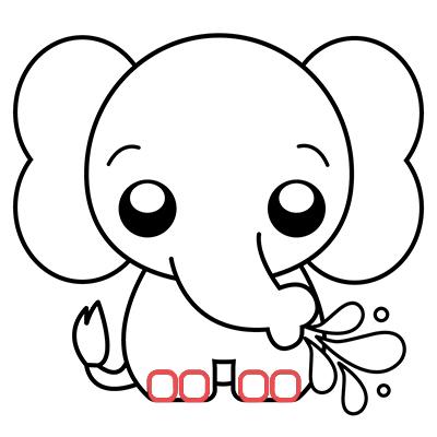 elefante kawaii chibi