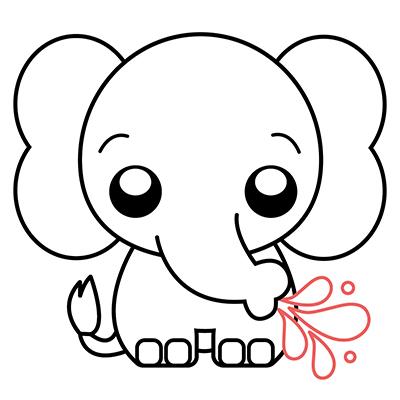 dibujar elefante kawaii bebe