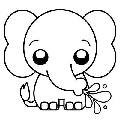 Elefante kawaii colorear