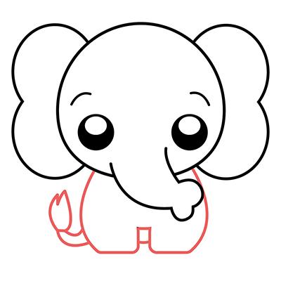 dibujar elefante kawaii paso a paso
