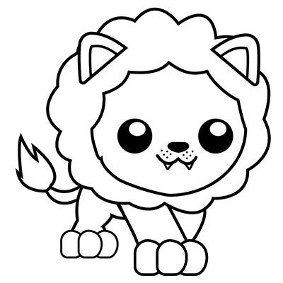 león kawaii colorear