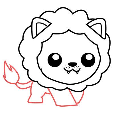 dibujar león kawaii paso a paso
