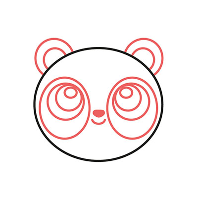 dibujar cabeza oso panda kawaii