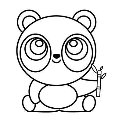 oso panda kawaii colorear