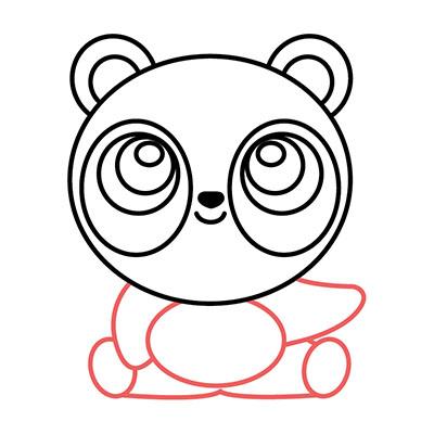 dibujar oso panda kawaii fácil