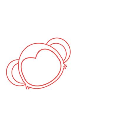 dibujar cabeza mono kawaii