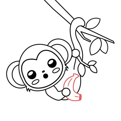 dibujar mono kawaii bebe