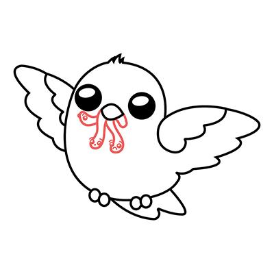 dibujar pajaro kawaii bebe