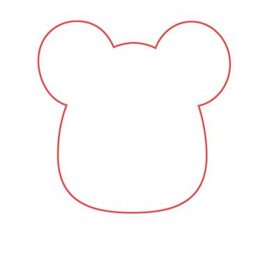 dibujar cabeza ratón kawaii