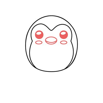 dibujar pinguino kawaii facil