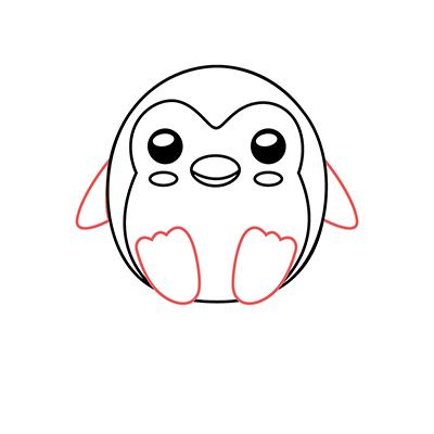 dibujar pingüino kawaii paso a paso