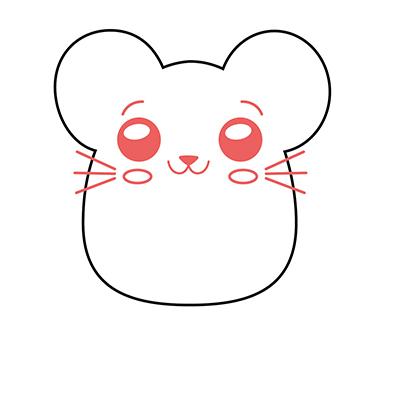 dibujar ratón kawaii fácil