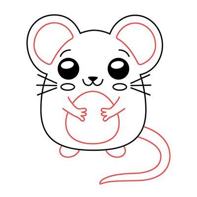 dibujar-ratón-kawaii-paso-a-paso