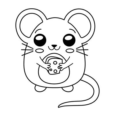 ratón-kawaii-colorear