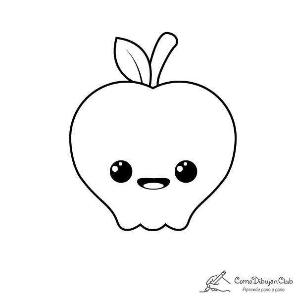 manzana-kawaii-colorear-imprimir-dibujo