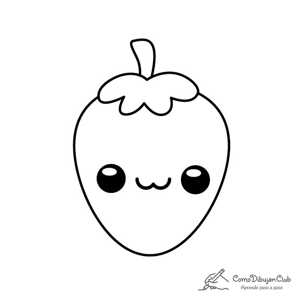 fresa-kawaii-colorear-imprimir-dibujo
