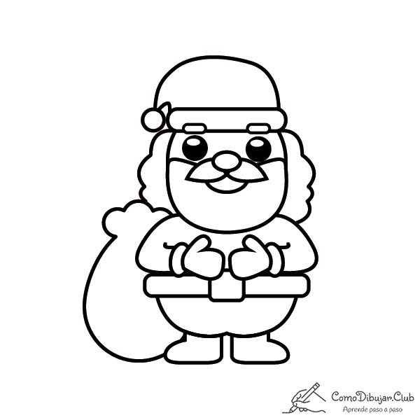 Cómo Dibujar A Papá Noel Kawaii Comodibujar Club
