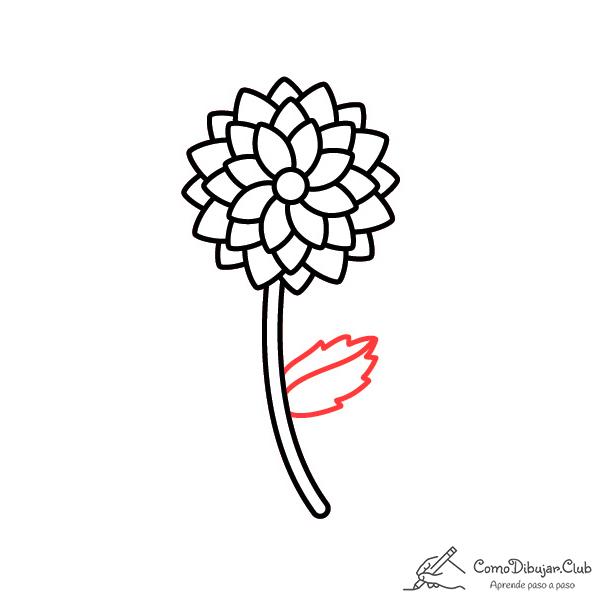 flor dalia dibujo paso a paso