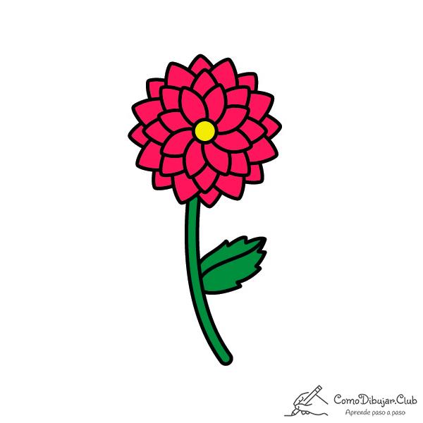 flor dalia dibujo
