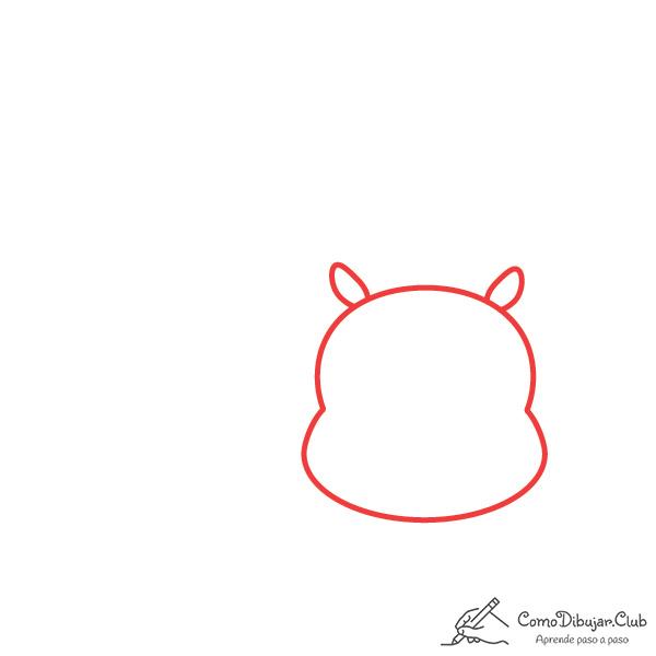 dibujar-cabeza-hipopótamo-kawaii